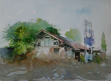 Bijay Biswaal | Watercolor Painting title Old Houde on Paper | Artist Bijay Biswaal Gallery | ArtZolo.com