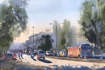 Cityscape Watercolor Art Painting title 'Orange Container Of Nagpur' by artist Bijay Biswaal