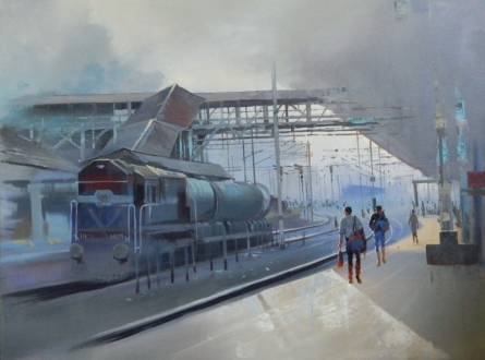 Cityscape Acrylic Art Painting title 'Platform' by artist Bijay Biswaal