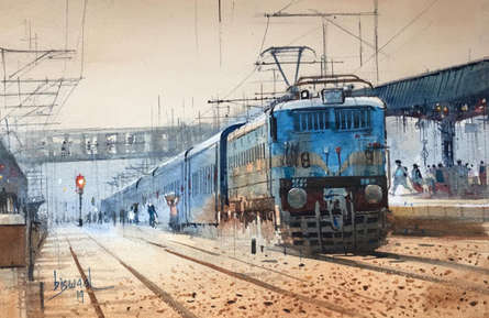 Bijay Biswaal Paintings | Cityscape Painting - Platform 1 by artist Bijay Biswaal | ArtZolo.com