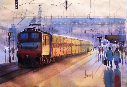 Cityscape Watercolor Art Painting title 'Platform 21' by artist Bijay Biswaal