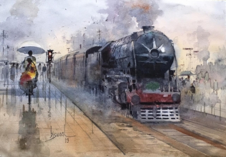 Cityscape Watercolor Art Painting title 'Platform 22' by artist Bijay Biswaal