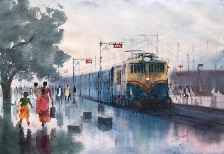 Cityscape Watercolor Art Painting title 'Platform 24' by artist Bijay Biswaal