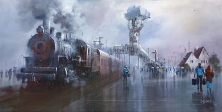 Cityscape Acrylic Art Painting title 'Platform 3' by artist Bijay Biswaal
