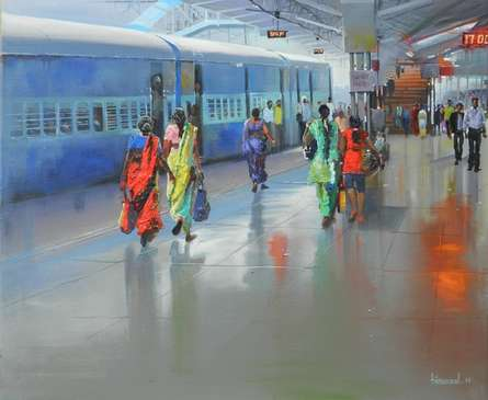 Bijay Biswaal | Acrylic Painting title Platform No 1 Bilaspur on Canvas | Artist Bijay Biswaal Gallery | ArtZolo.com