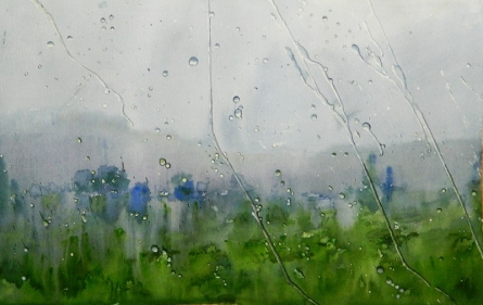 Rain On Glass Pane | Painting by artist Bijay Biswaal | watercolor | Arches Paper