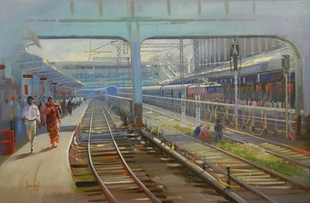 Cityscape Acrylic Art Painting title 'Rush Hour' by artist Bijay Biswaal
