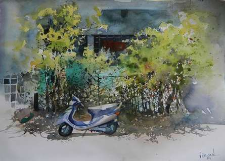 Scooter Ouside Home | Painting by artist Bijay Biswaal | watercolor | Paper