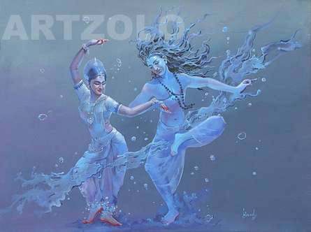 Shiv Parvati | Painting by artist Bijay Biswaal | acrylic | Canvas