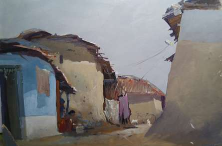 Cityscape Acrylic Art Painting title 'Shivangaon' by artist Bijay Biswaal