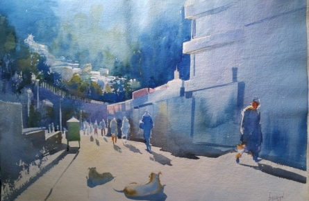 Bijay Biswaal | Watercolor Painting title Simla Morning on Handmade Paper | Artist Bijay Biswaal Gallery | ArtZolo.com