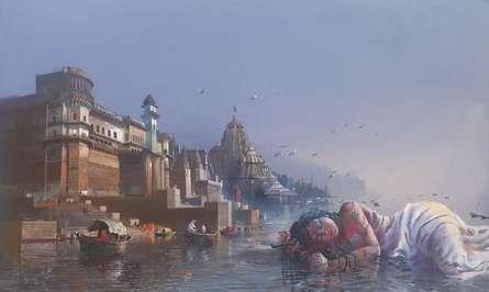 Cityscape Acrylic Art Painting title 'Sleeping Ganga On Gangakashi' by artist Bijay Biswaal