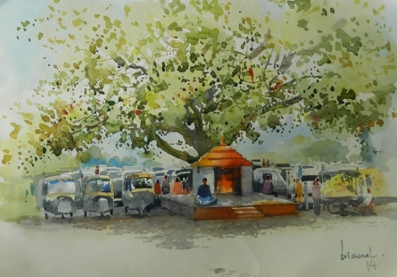 Small Temple Under The Tree | Painting by artist Bijay Biswaal | watercolor | Paper
