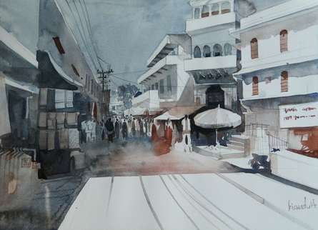 Bijay Biswaal | Watercolor Painting title Small Town on Paper | Artist Bijay Biswaal Gallery | ArtZolo.com