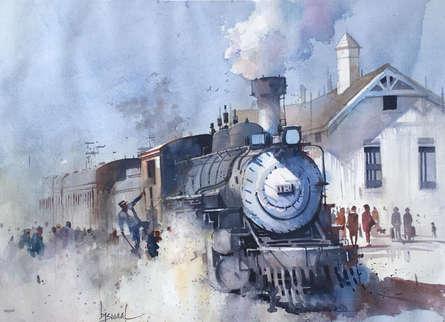Bijay Biswaal | Watercolor Painting title Steam Loco on Paper | Artist Bijay Biswaal Gallery | ArtZolo.com