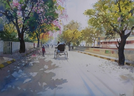 Summer Evening   Painting by artist Bijay Biswaal   watercolor   Paper