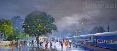 The Wide Wet Platform | Painting by artist Bijay Biswaal | acrylic | Canvas