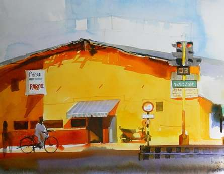 The Yellow Building | Painting by artist Bijay Biswaal | watercolor | Paper