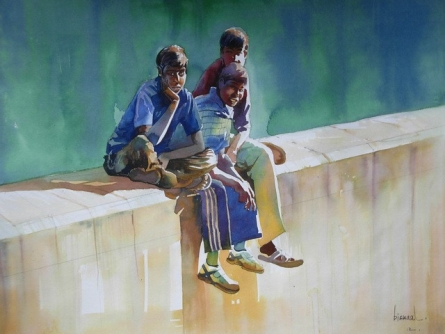 Figurative Watercolor Art Painting title 'Those Days' by artist Bijay Biswaal