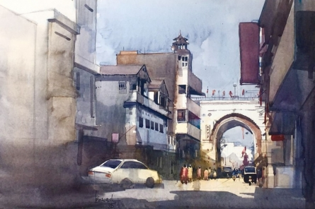 Cityscape Watercolor Art Painting title Untitled 1 by artist Bijay Biswaal