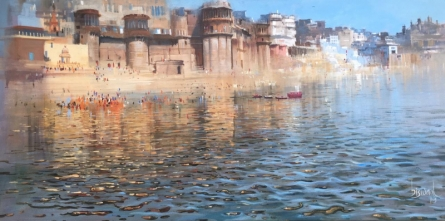 Cityscape Acrylic Art Painting title 'Varanasi 1' by artist Bijay Biswaal