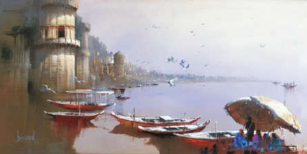 Cityscape Acrylic Art Painting title 'Varanasi 5' by artist Bijay Biswaal