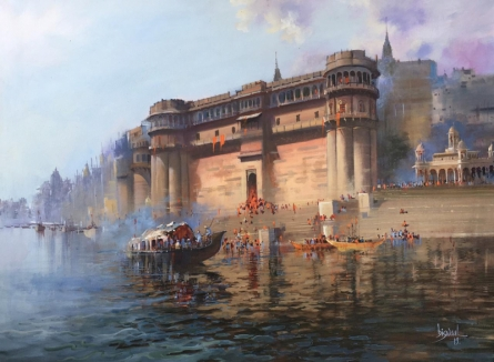 Cityscape Acrylic Art Painting title 'Varanasi 6' by artist Bijay Biswaal