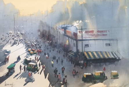 Cityscape Watercolor Art Painting title 'Veg Restaurant At Paharganj Side' by artist Bijay Biswaal