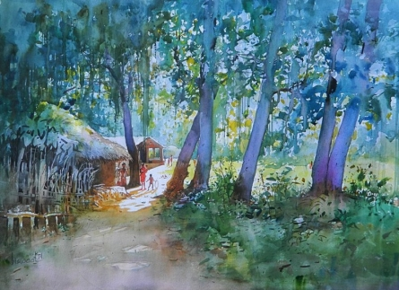 Cityscape Watercolor Art Painting title 'Village Home' by artist Bijay Biswaal