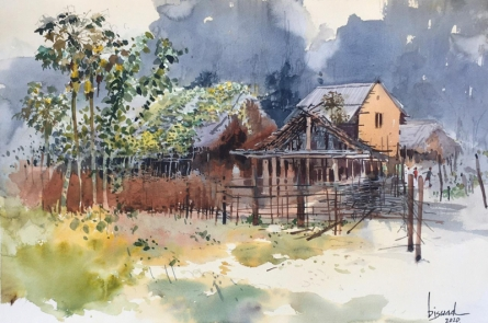 Landscape Watercolor Art Painting title Village Series 3 by artist Bijay Biswaal