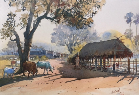 Landscape Watercolor Art Painting title Village Series 4 by artist Bijay Biswaal