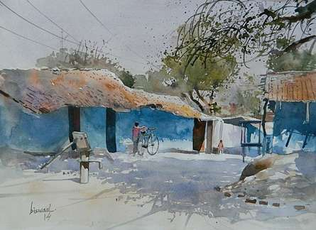 Cityscape Watercolor Art Painting title Village Side by artist Bijay Biswaal