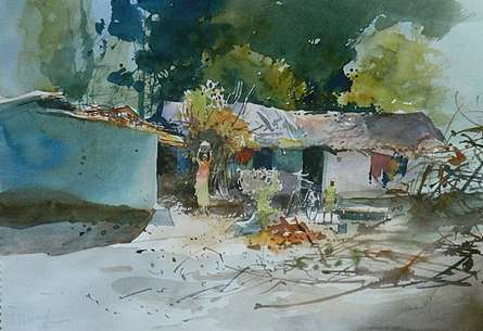 Cityscape Watercolor Art Painting title 'Village Side II' by artist Bijay Biswaal