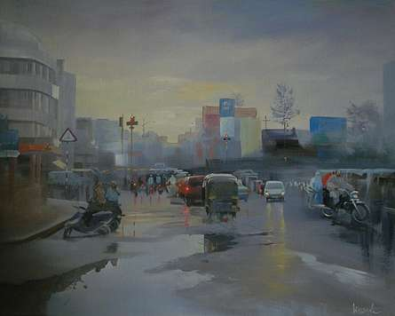 Wet Nagpur | Painting by artist Bijay Biswaal | acrylic | Canvas