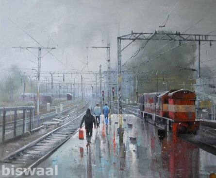Cityscape Acrylic Art Painting title 'Wet Platform Pune' by artist Bijay Biswaal