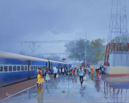 Wet Platform - Rajnandgaon | Painting by artist Bijay Biswaal | acrylic | Canvas