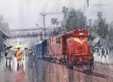 Cityscape Watercolor Art Painting title 'Wet Platform 31' by artist Bijay Biswaal