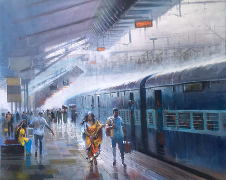 Cityscape Acrylic Art Painting title 'Wet Platform 31' by artist Bijay Biswaal