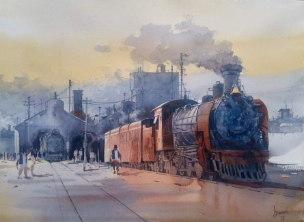 Cityscape Watercolor Art Painting title 'Wet Platform 32' by artist Bijay Biswaal