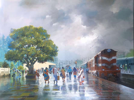 Cityscape Acrylic Art Painting title Wet Platform 32 by artist Bijay Biswaal