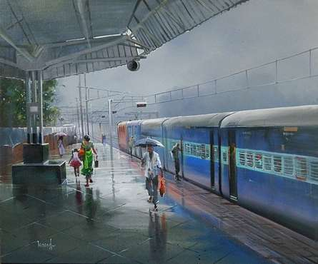 Cityscape Acrylic Art Painting title 'Wet Platform Bhatapara' by artist Bijay Biswaal