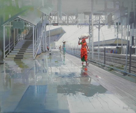 Cityscape Acrylic Art Painting title 'Wet Platform III' by artist Bijay Biswaal