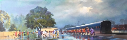 Wet Platform Panorama | Painting by artist Bijay Biswaal | acrylic | Canvas