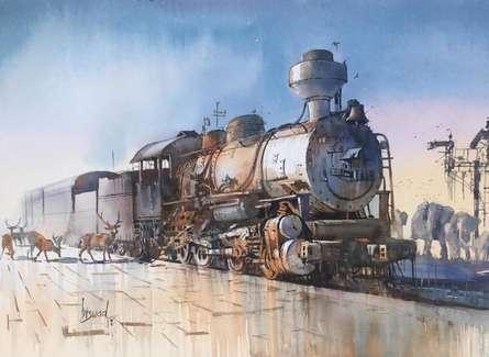 Animals Watercolor Art Painting title 'Wet Platform Wild 2' by artist Bijay Biswaal