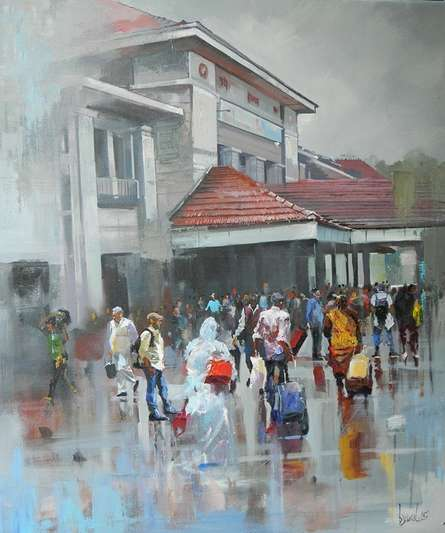 Wet Station | Painting by artist Bijay Biswaal | acrylic | Canvas