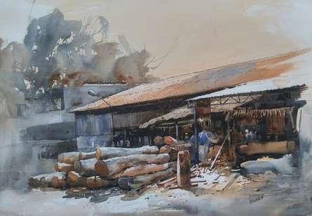 Cityscape Watercolor Art Painting title Woodmart by artist Bijay Biswaal