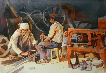 Figurative Watercolor Art Painting title 'Workshop' by artist Bijay Biswaal