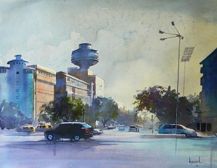 Ye Hai Mumbai Meri Jaan   Painting by artist Bijay Biswaal   watercolor   Canson Paper