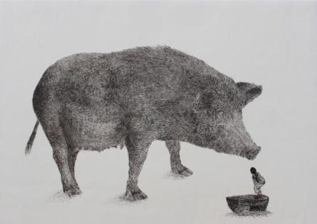 Preya Bhagat | Pig Printmaking by artist Preya Bhagat | Printmaking Art | ArtZolo.com
