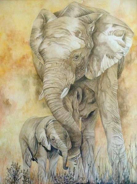 Anjana Sihag | Watercolor Painting title Gentle Giants on Paper | Artist Anjana Sihag Gallery | ArtZolo.com